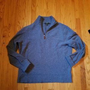 J crew 100% lambs wool pullover zip sweater L
